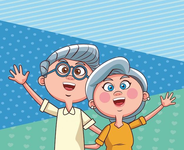 手を振っている年配のカップル