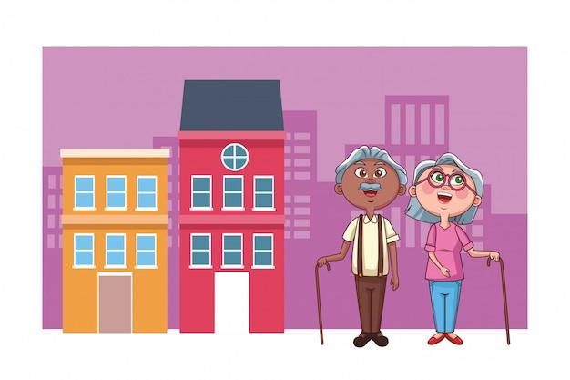 年配のカップル祖父母市