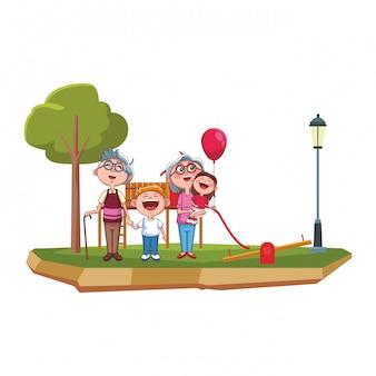 祖父母と孫の公園