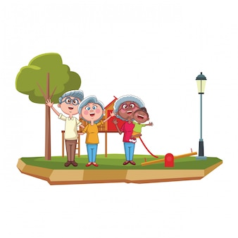 祖父母と孫娘の公園