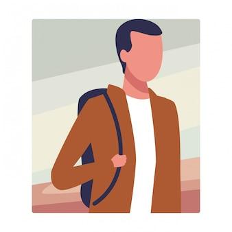 Портрет безликого парня в рюкзаке