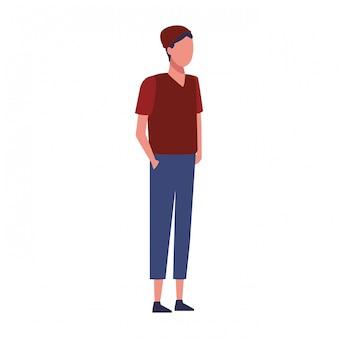 カジュアルな服を着た若い男