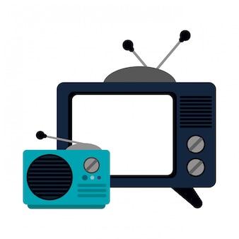 古いテレビとラジオの漫画