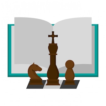 Книга открыта с шахматными фигурами