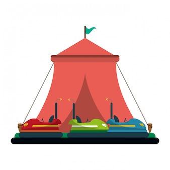 祭りのテントとバンパー車