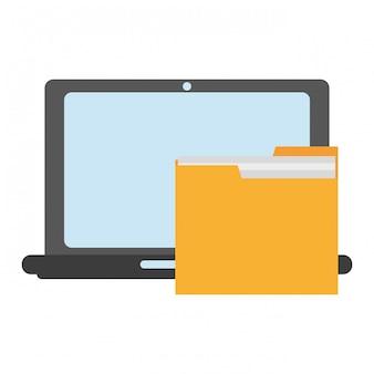 フォルダーのシンボルとノートパソコン