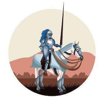 馬の丸いアイコンで中世の戦士