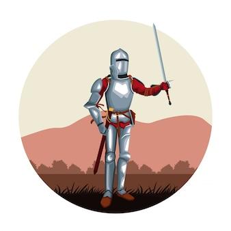 中世の戦士ラウンドアイコン