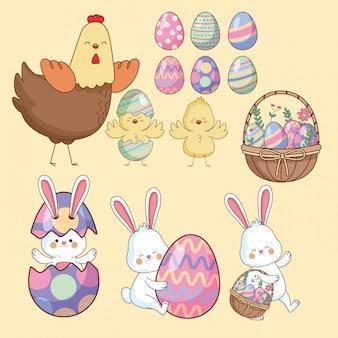 イースターの日の動物と卵