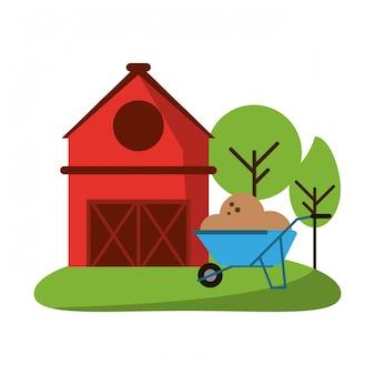 農場の家と手押し車
