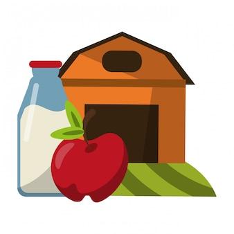 リンゴと牛乳瓶の農家