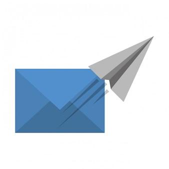 電子メールと紙飛行機の飛行のシンボル
