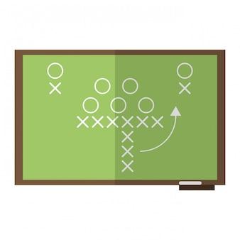 黒板にアメリカンフットボールの戦略
