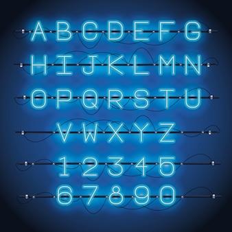 Алфавит шрифт неоновые огни