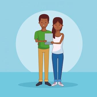 Подростки, использующие технологии