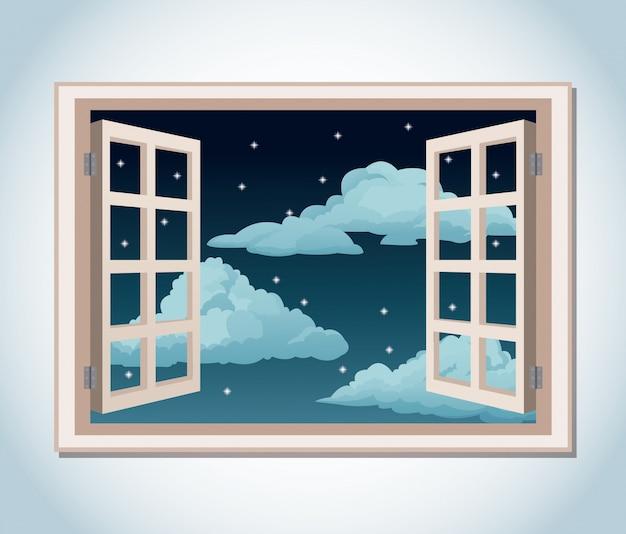 部屋の窓夜空星雲