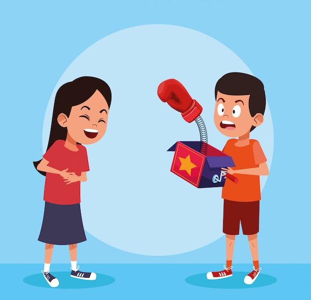 エイプリルフールの男の子と女の子の漫画