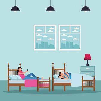 Двухместное общежитие и кровать для пар