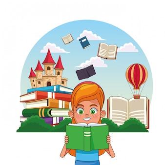 おとぎ話を読む子供たち