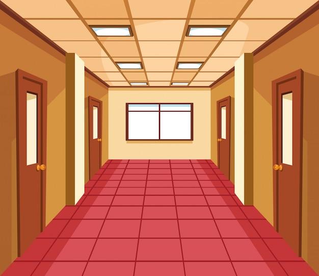 Школьный зал с дверями классной комнаты