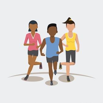 Фитнес люди бегут спереди