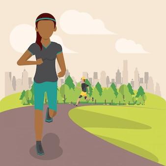 公園を走っているフィットネス女性