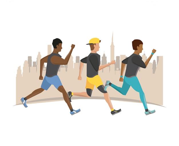 Фитнес люди бегут