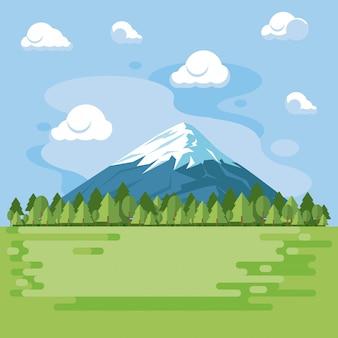 Пейзаж с горным пейзажем