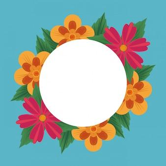 花のフレームブランクカード