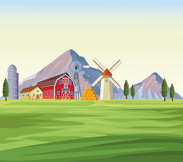 山の風景の中の農場
