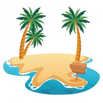 Красивый пляж с пальмами и деревянным знаком