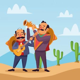 Мексиканцы празднуют в пустыне