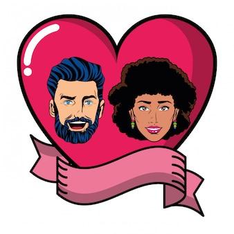Лицо пары в сердце