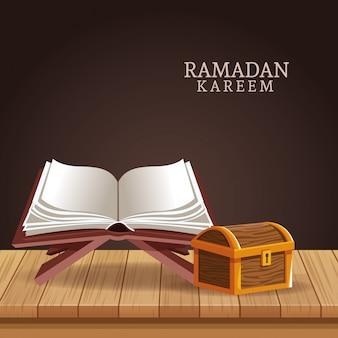 Рамадан карим с кораном и сундуком