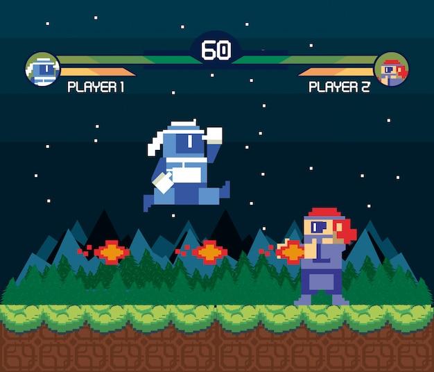 Ретро видеоигра экран аркада фон карты
