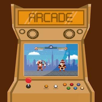 レトロなビデオゲームアーケードマシンカード