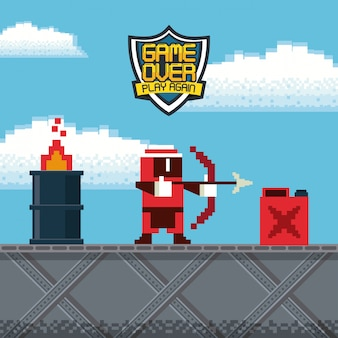 レトロなビデオゲームのアーケードキャラクターのカードの背景