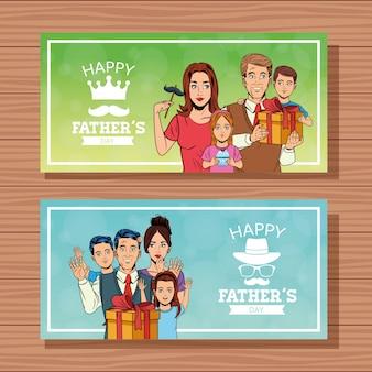 Счастливые отцы день баннеры карты