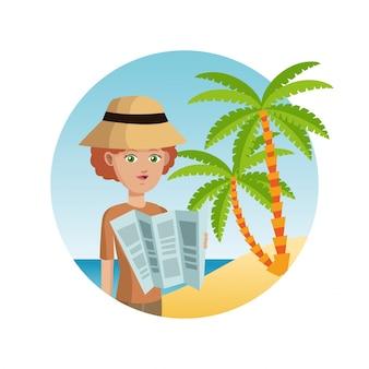 女性、観光客、帽子、地図