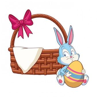 Плетеная корзинка с лентой пасхальный заяц