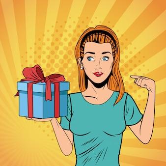 ポップアートの女性の誕生日ギフトボックスの漫画
