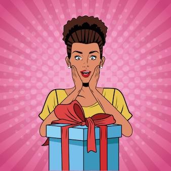 ポップアートの女性の誕生日の漫画