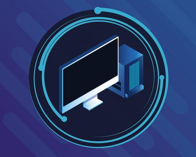 青いデジタルテクノロジーの丸いアイコン