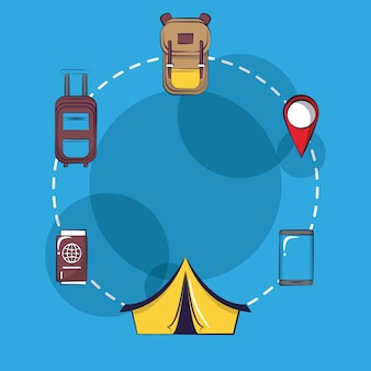 Путешествия и отдых мультфильм иконки