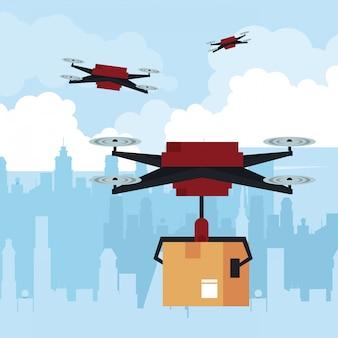 街でボックスを飛んでいる無人機