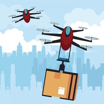 Дрон, летящий с коробкой в город