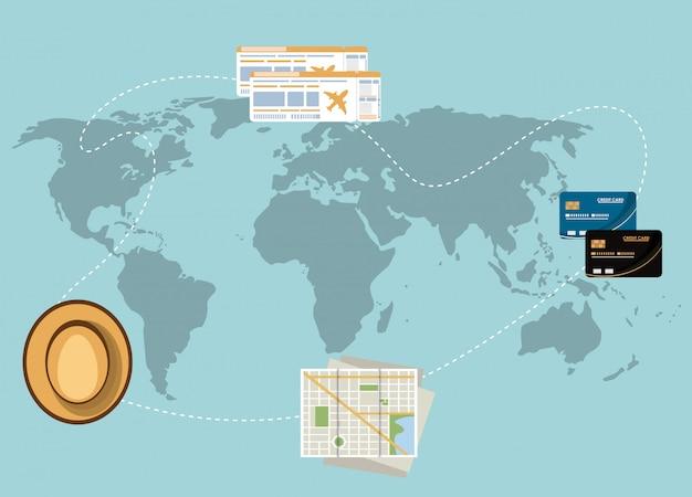 世界地図上の旅行の要素