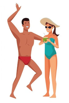 Молодая пара наслаждается летними мультфильмами