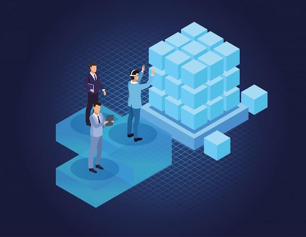 Изометрические бизнесмены и технологии