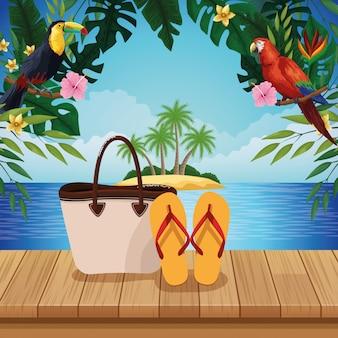 夏のビーチと旅行漫画